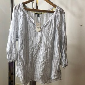 BNWT White with Blue Stripes Blouse